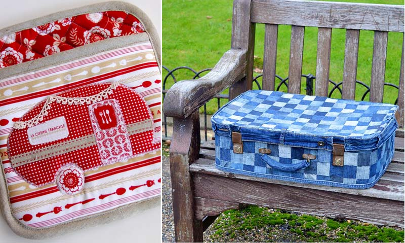 Blue jeans patchwork suitcase,vintage camper pot holder