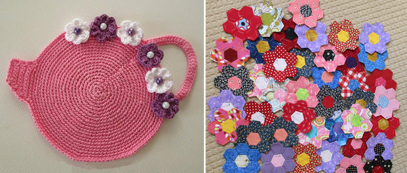 Crochet teapot shaped hot pad,hexigon quilt flowers