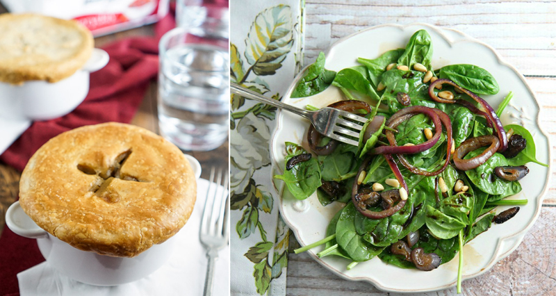 Spinach salad, meat pot pie