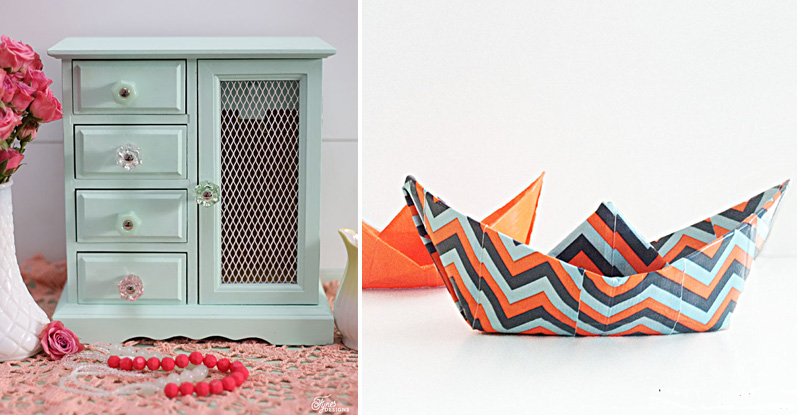 Duct tape folded boats,jewelry box upcycle