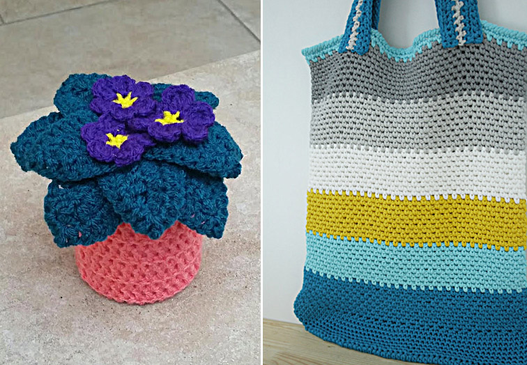 Crocheted african daisy,market bag