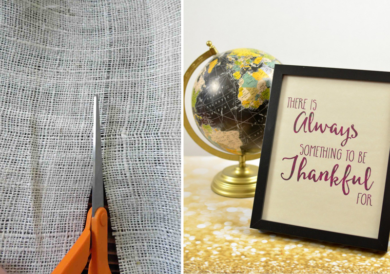 How to cut burlap,always thankful printable