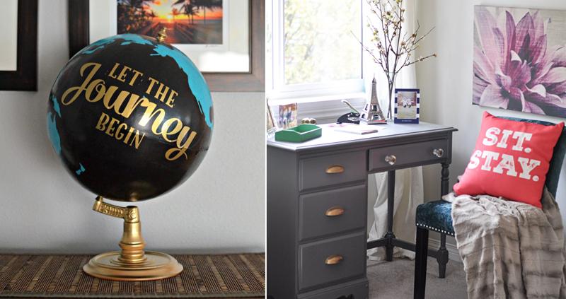 Globe re-do, refurbished writing desk