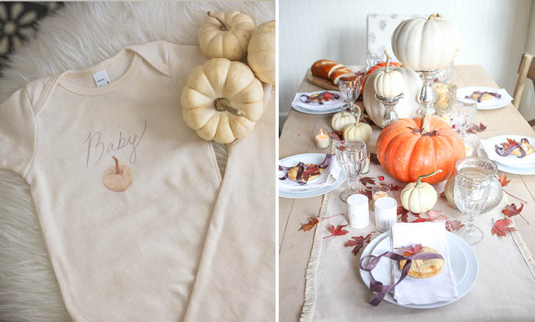 Baby onsie with pumpkin fall tablescape with pumpkins