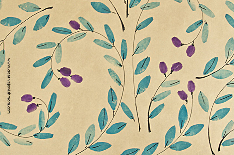 Potato Print Olive Branch Gift Wrap For Hanukkah close up