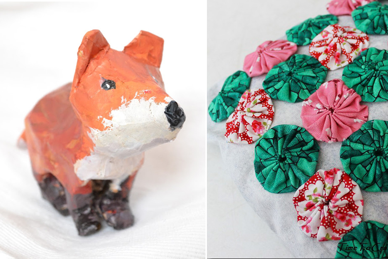 Fox paper mache craft,sachet with appliqued yo-yos