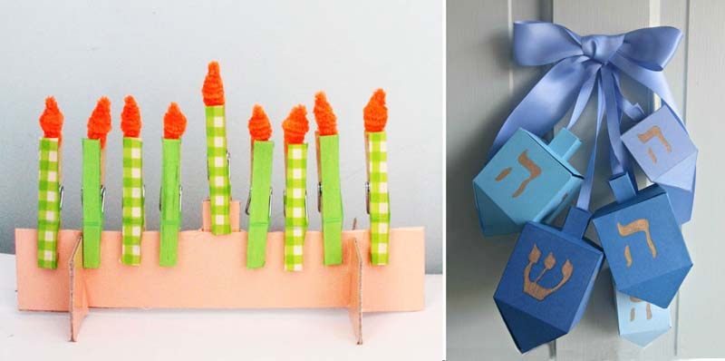 Paper dreidel door decoration, hanukkah clothespin menorah