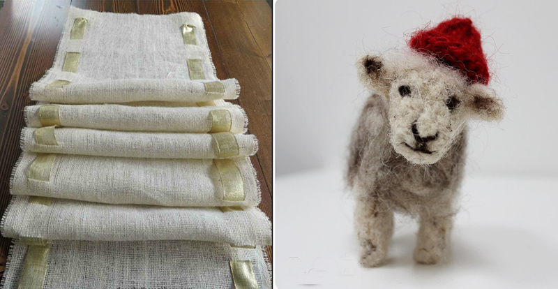 Felted sheep, burlap no sew runner