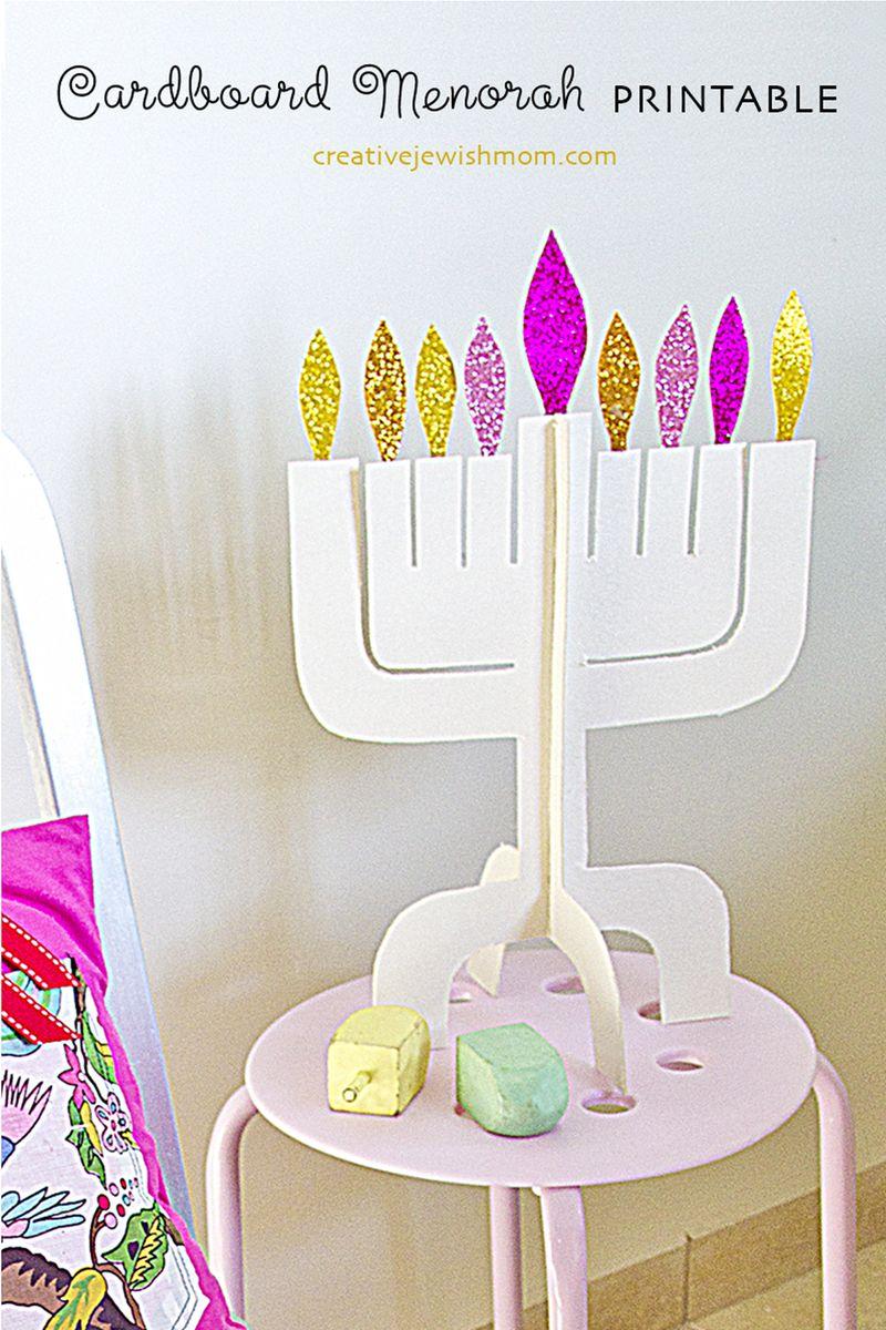 Hanukkah Menorah Cardboard Printable