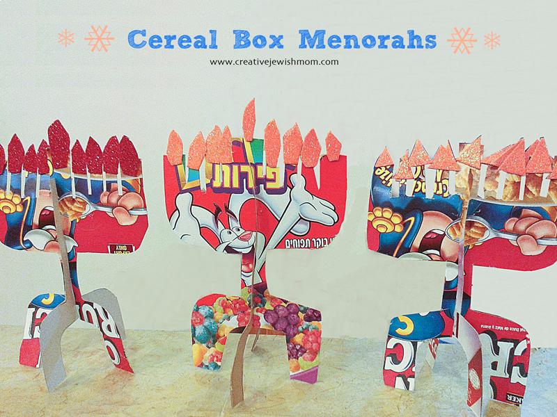 Cereal Box Cardboard menorahs hanukkah craft 800pix