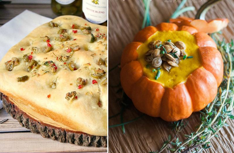 Vegan pumpkin soup,focaccia bread