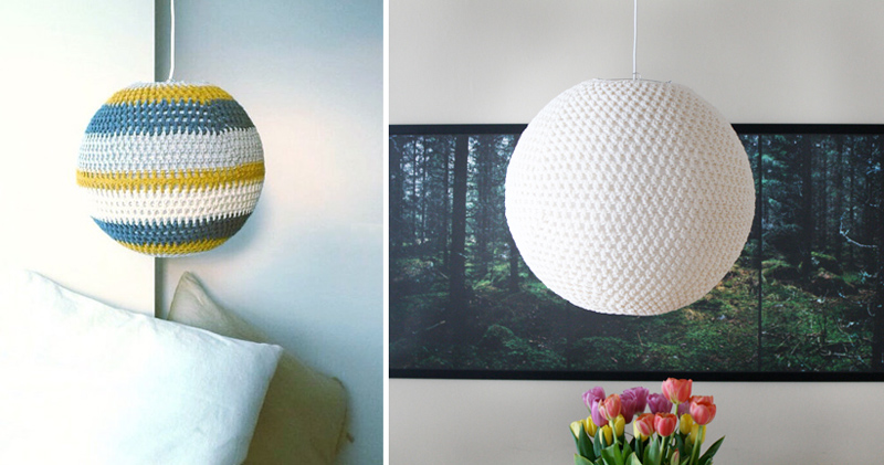 Crocheted Ball Lampshade