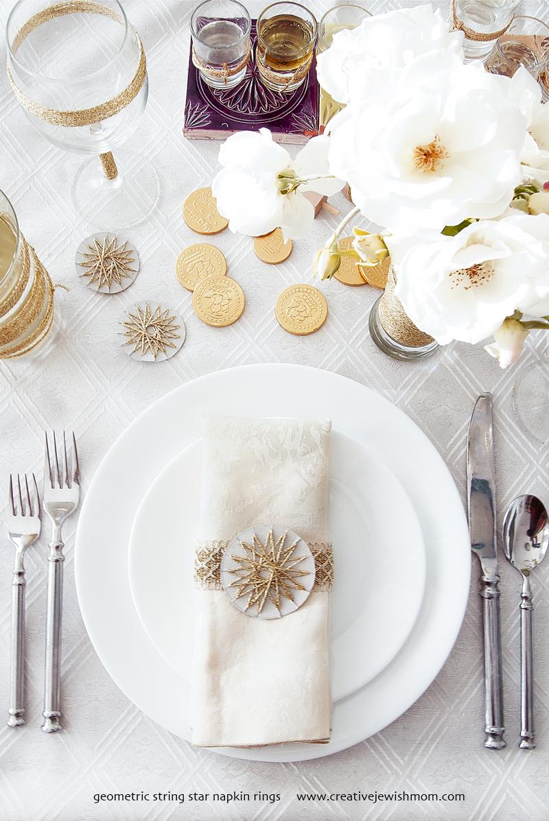 Hanukkah Table Setting Idea With String Stars