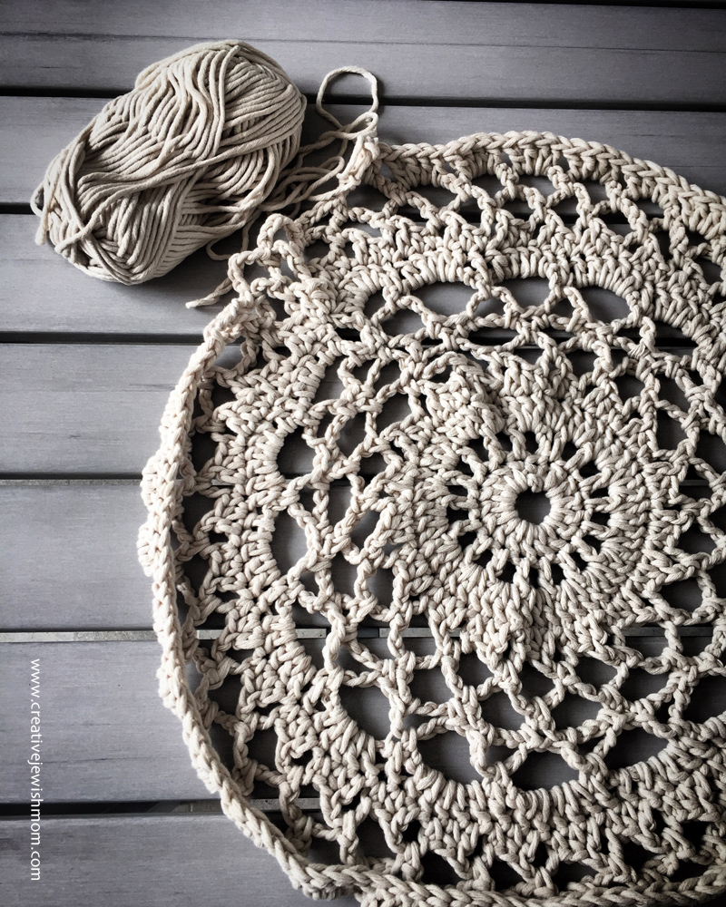 Crocheted Doily Throw With Yarn
