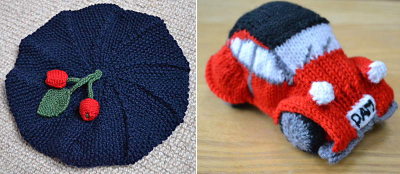 Knit Cherry Tassel Beret,knit car