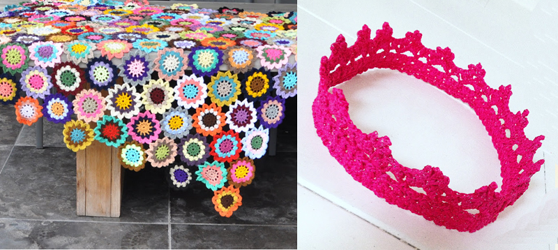 Crocheted birthday crown,crocheted flower blanket
