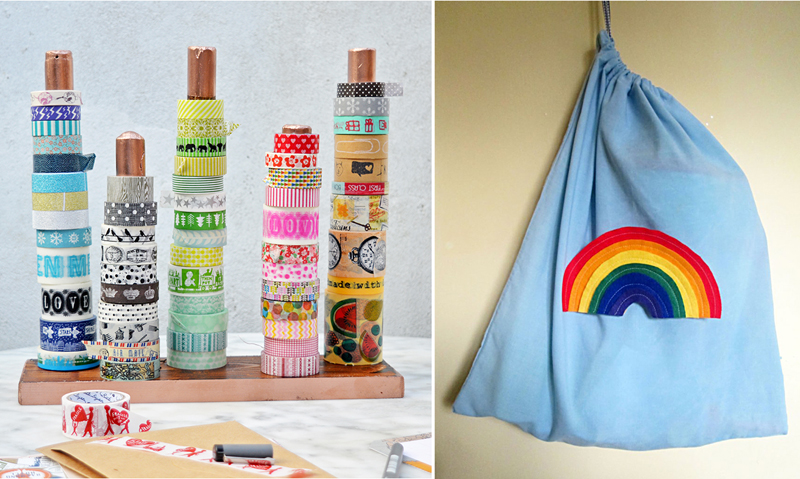 DIY washi tape or string rack, pillow case drawstring bag