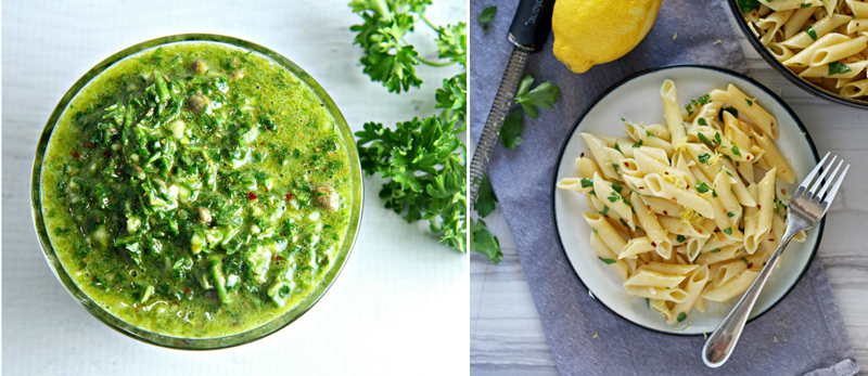 Chimichurri sauce,simple penne dish