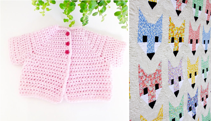 Fox quilt,crocheted baby sweater