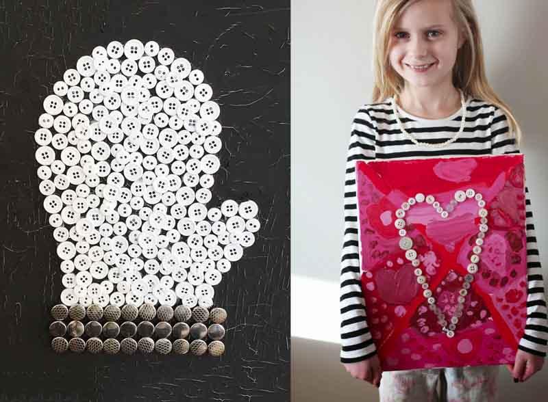 Button mitten art,button heart art