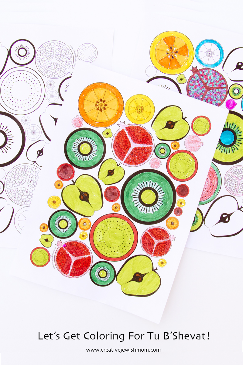 Tu B'Shevat Craft Fruit Slice Coloring Pages colored