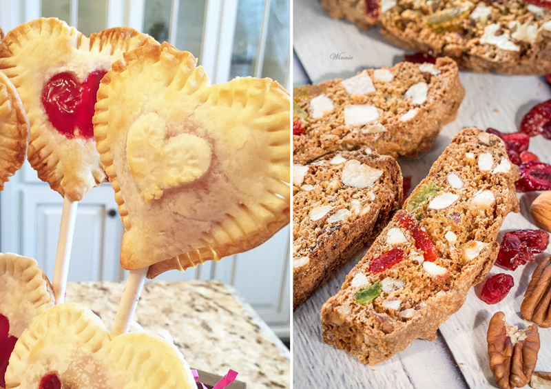 Dried Fruit Biscotti, heart shaped pie pops
