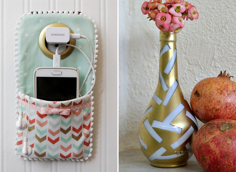 DIY phone charger cozy,painted alchohol bottle