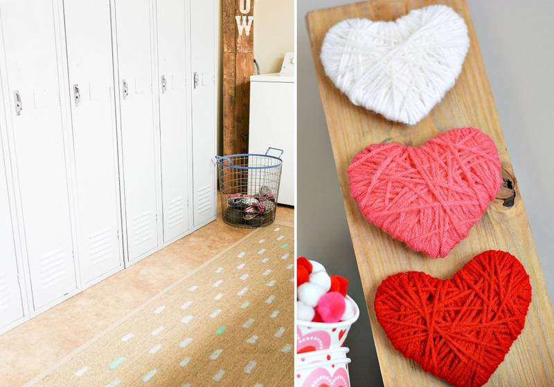 Ikea rug hack,yarn wrapped hearts