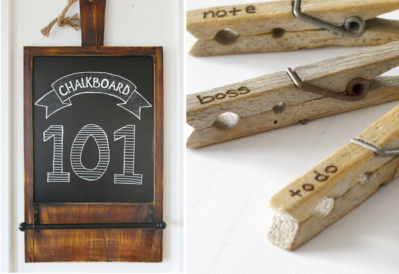 Chalkboard drawing 101,wooden clothespins with wood burning