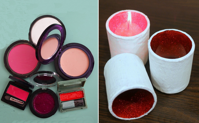 Play makeup, and DIY glitter candles
