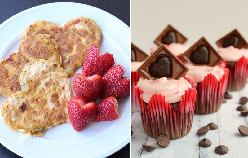Heart shaped cheesy quesadilla, chocolate cupcakes