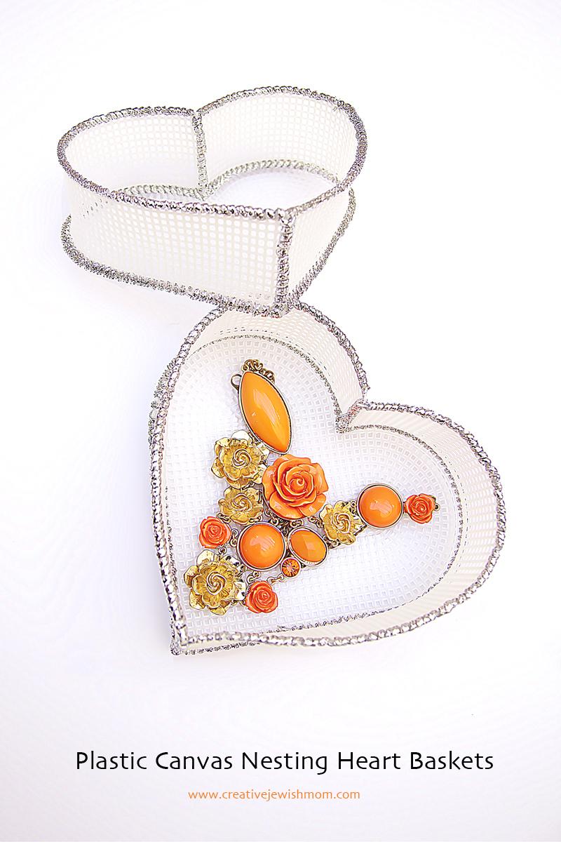 Plastic Canvas Nesting Heart Baskets