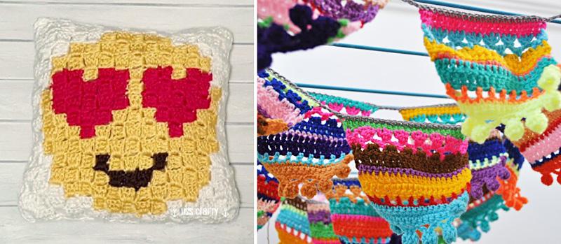 Pom pom crocheted bunting,emoji heart crochet c2c pillow