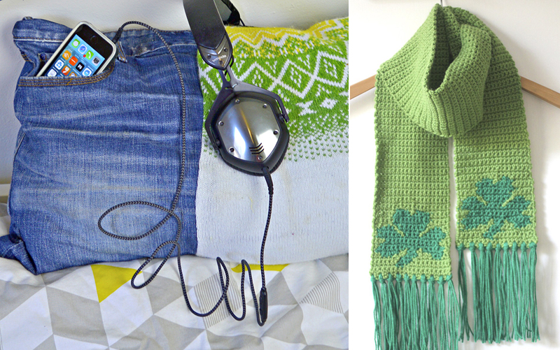 Jean pocket pillow for iphone,shamrock crocheted scarf