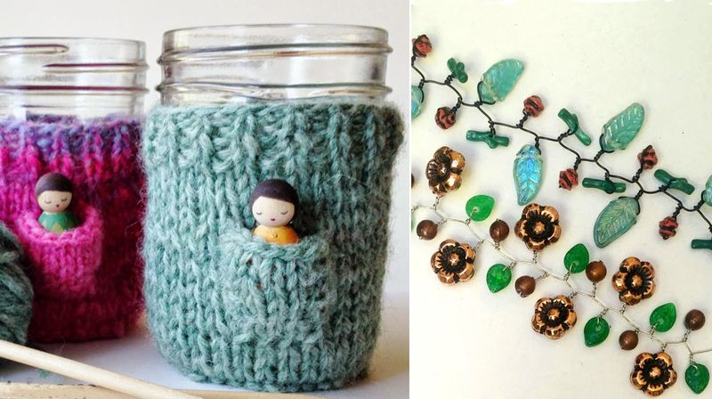 Knit jar cozies with pockets,beaded vine bracelets