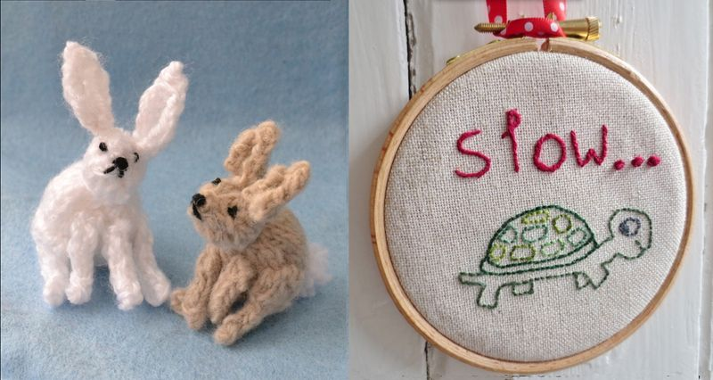 Knit rabbits,turtle embroidery hoop