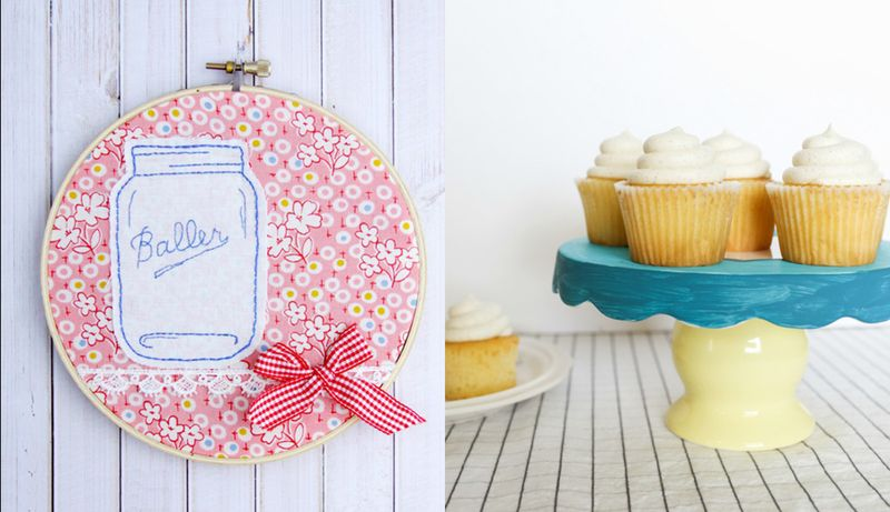 Mason jar embroidery hoop, hand painted cake stand