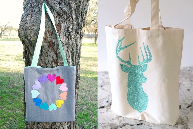 Rainbow hearts tote bag,glitter stag wine bottle tote