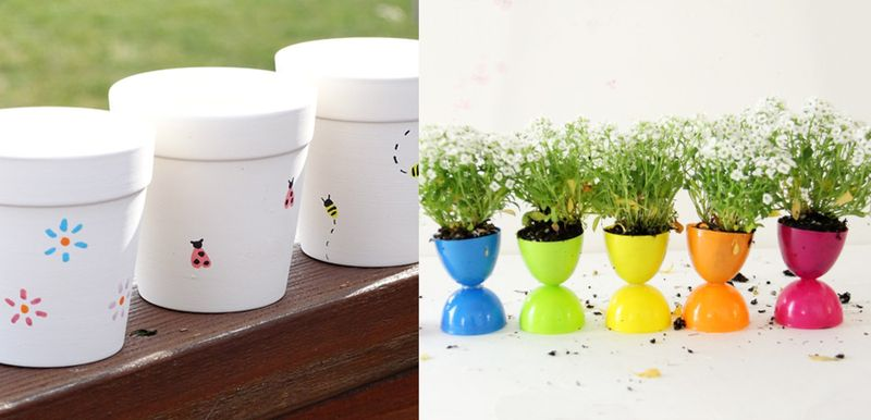 Plastic egg flower pots, painted pot candles