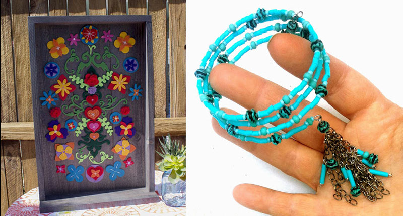 Felt flowers wall art,memory wire bracelet