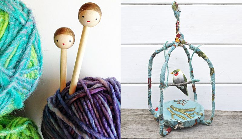 Wire hanger bird cage,peg doll knitting needles