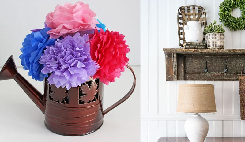 Tissue paper flowers,easy wall paneling
