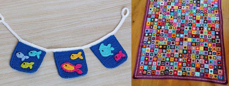 Mini granny crochet blanket,crochet fish applique bunting