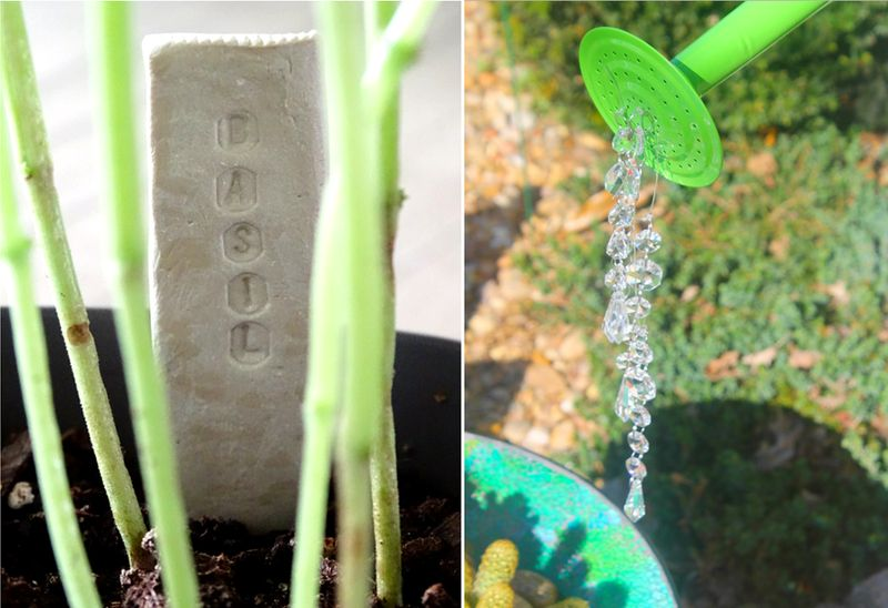 Air dry clay plant markers,watering can garden sculpture