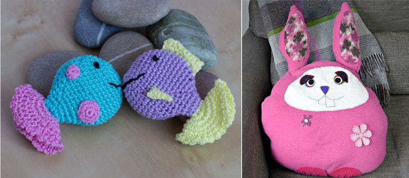 Rabbit pillow from clothes,crocheted fish