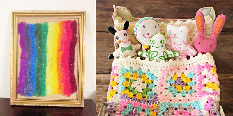 Rainbow felt,crocheted granny doll blanket