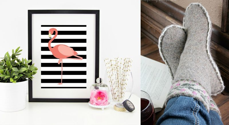 Flamingo printable,upcycled sweater slippers