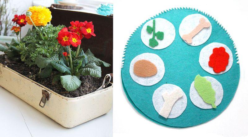 Felt seder plate craft,tool box planter