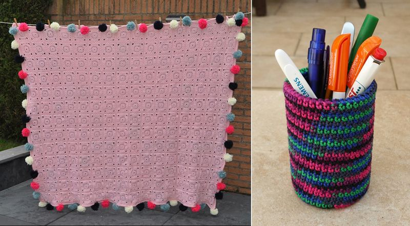 Crocheted pencil cup,crocheted blanket with pom poms