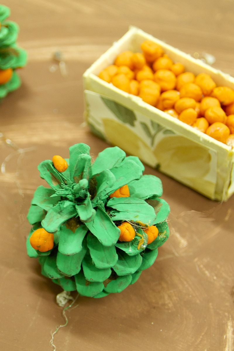 Pine Cone Orange Tree Kids Craft